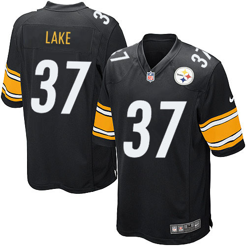 Men's Nike Pittsburgh Steelers #37 Carnell Lake Game Black Team Color NFL Jersey