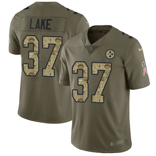 Men's Nike Pittsburgh Steelers #37 Carnell Lake Limited Olive/Camo 2017 Salute to Service NFL Jersey