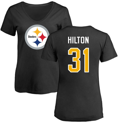 NFL Women's Nike Pittsburgh Steelers #31 Mike Hilton Black Name & Number Logo Slim Fit T-Shirt