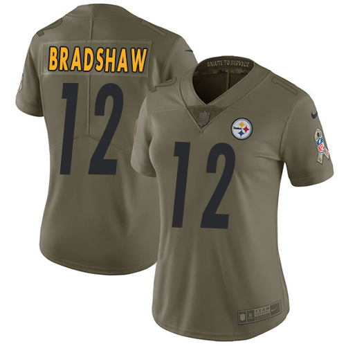 Women's Nike Pittsburgh Steelers #12 Terry Bradshaw Limited Olive 2017 Salute to Service NFL Jersey